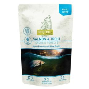 Isegrim Roots Salmon & Trout 2-ух протеиновый ПАУЧ для собак 410 г., лосось и форель с топинамбуром, сафлоровым маслом и речными водораслями